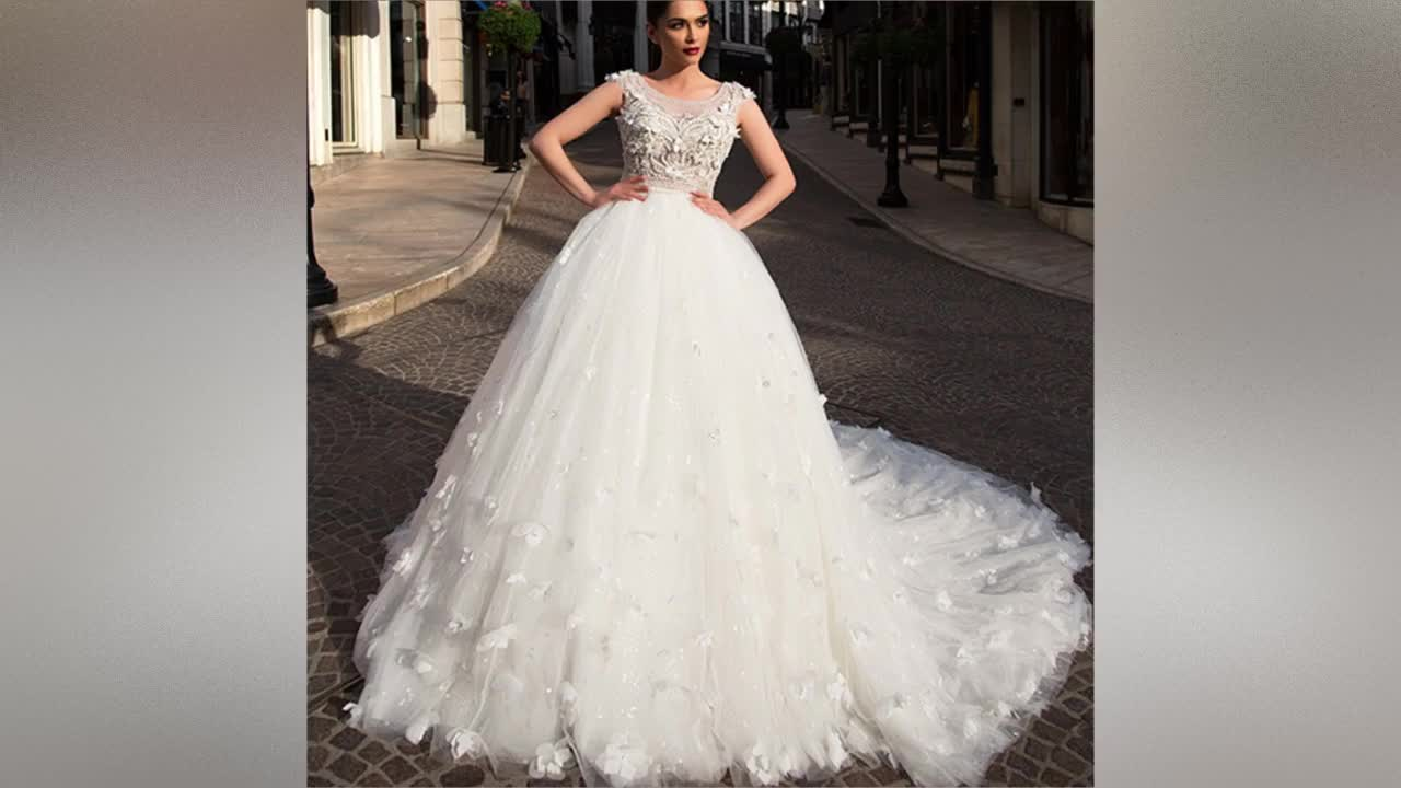 Cap Sleeve Wedding Gowns Lace up Wedding Dress Bridal Veil Robe de mariage African Beaded Wedding Dresses Vestido De Novio