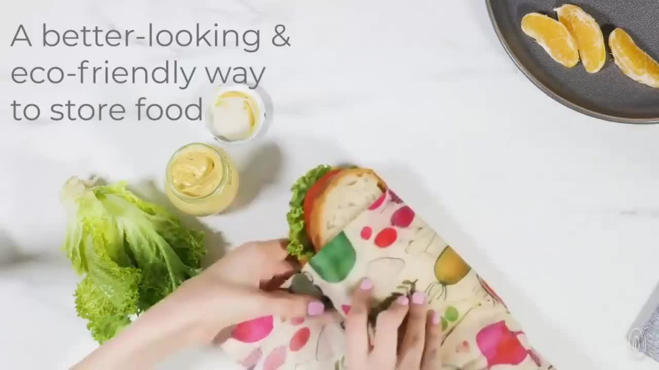 New package 100% Cotton Fabric Eco Friendly Reusable Beeswax Food Wrap
