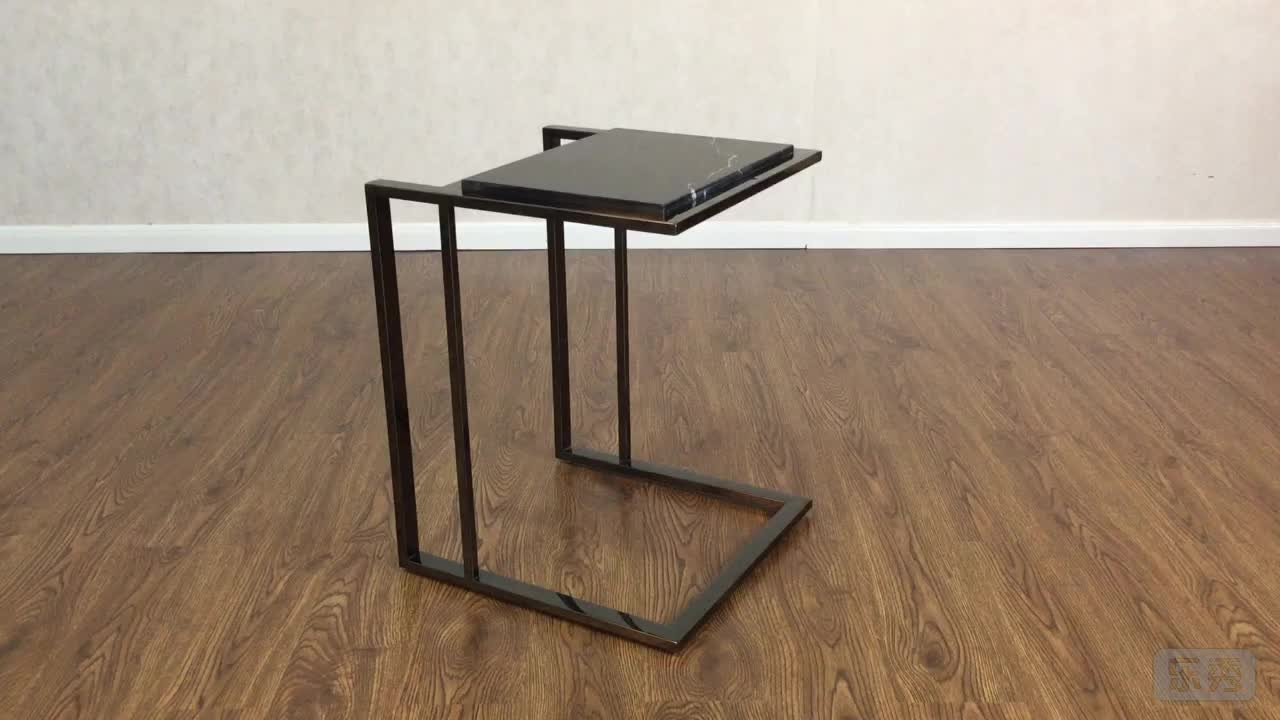Polished stainless steel black modern marble side table
