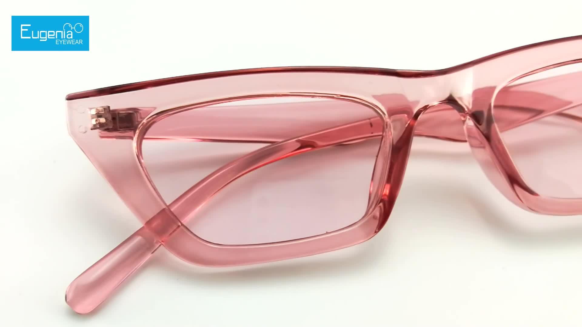 EUEGNIA Thời Trang Trong Suốt Khung Màu Chất Lượng Cao Phụ Nữ Cat Eye Sunglasses