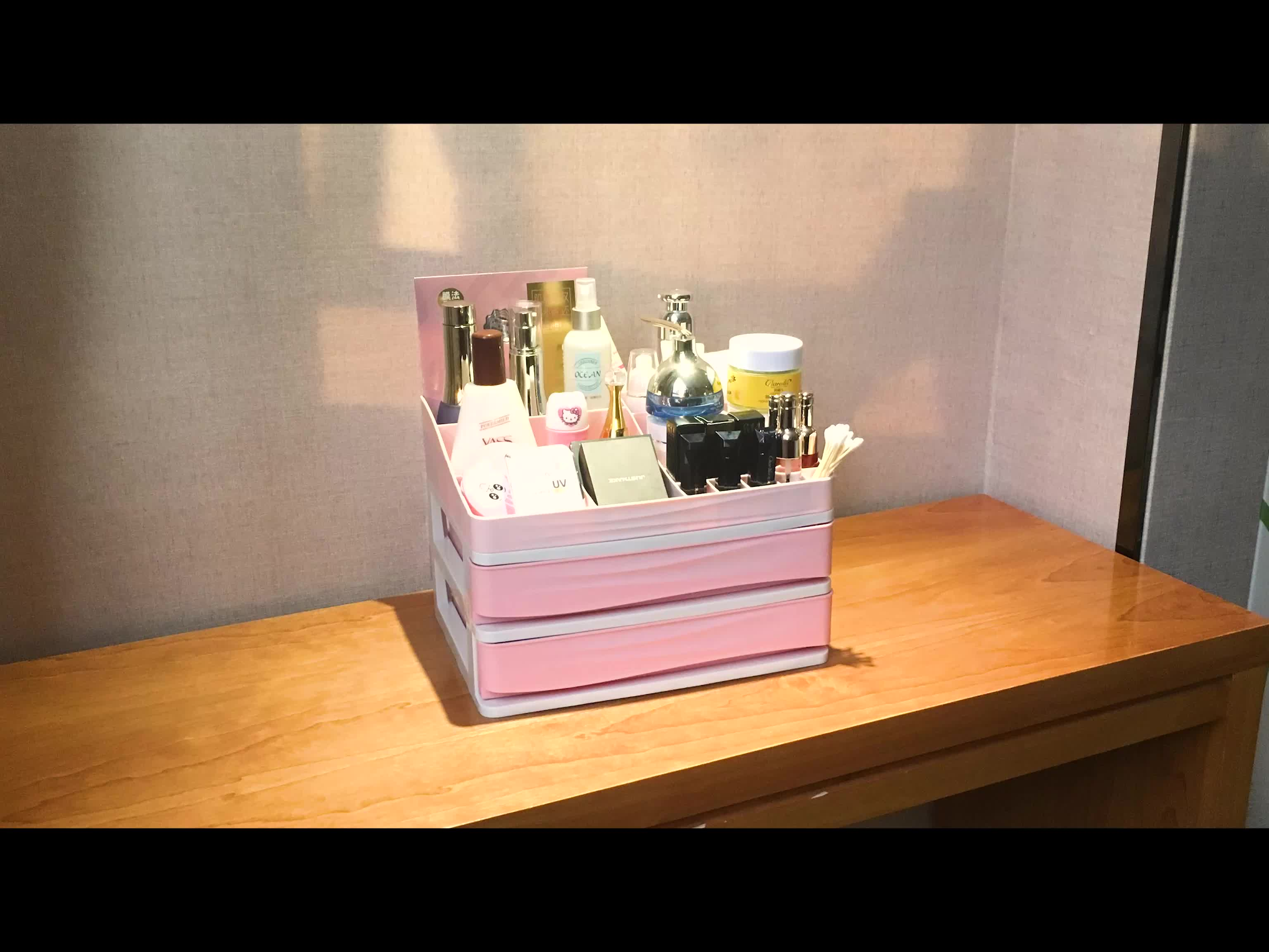 China Shenzhen Manufacture Cheap Plastic Box Display,Cosmetic Holder With 3 Drawers