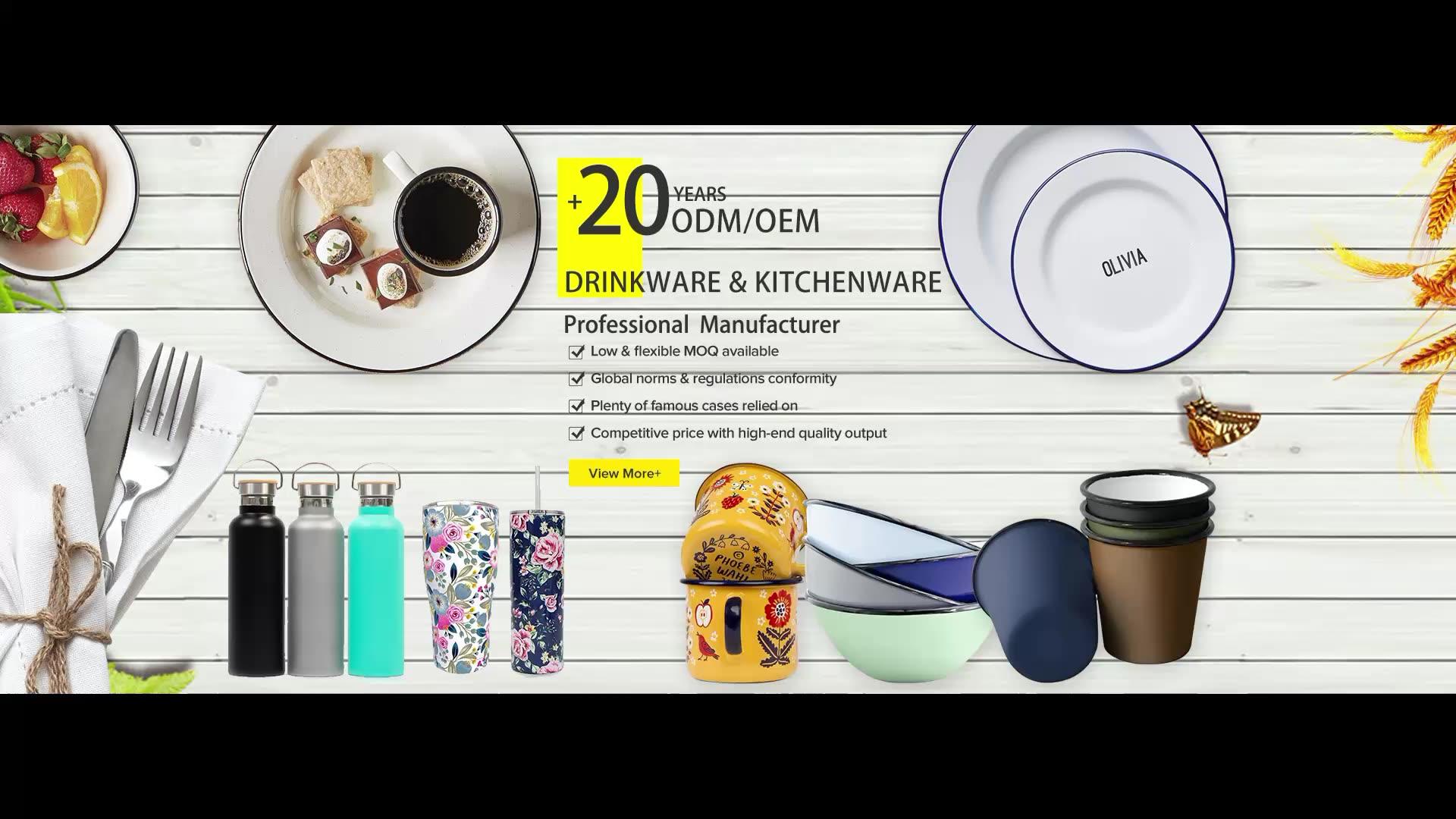 32oz white food grade large enamel metal mug with custom printing