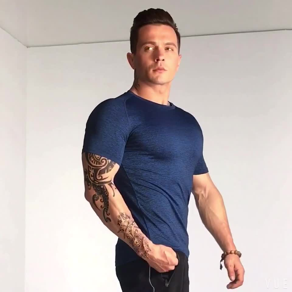 Hot Selling Sports Gym Clothes 95% Cotton 5% Elastane Mens Muscle Fit T Shirts