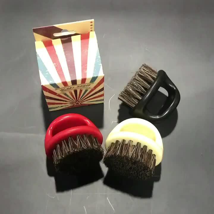 Ring design Horse and boar hair bristle custom beard brush resin portable neck and face cleaning shaving Brush for barber