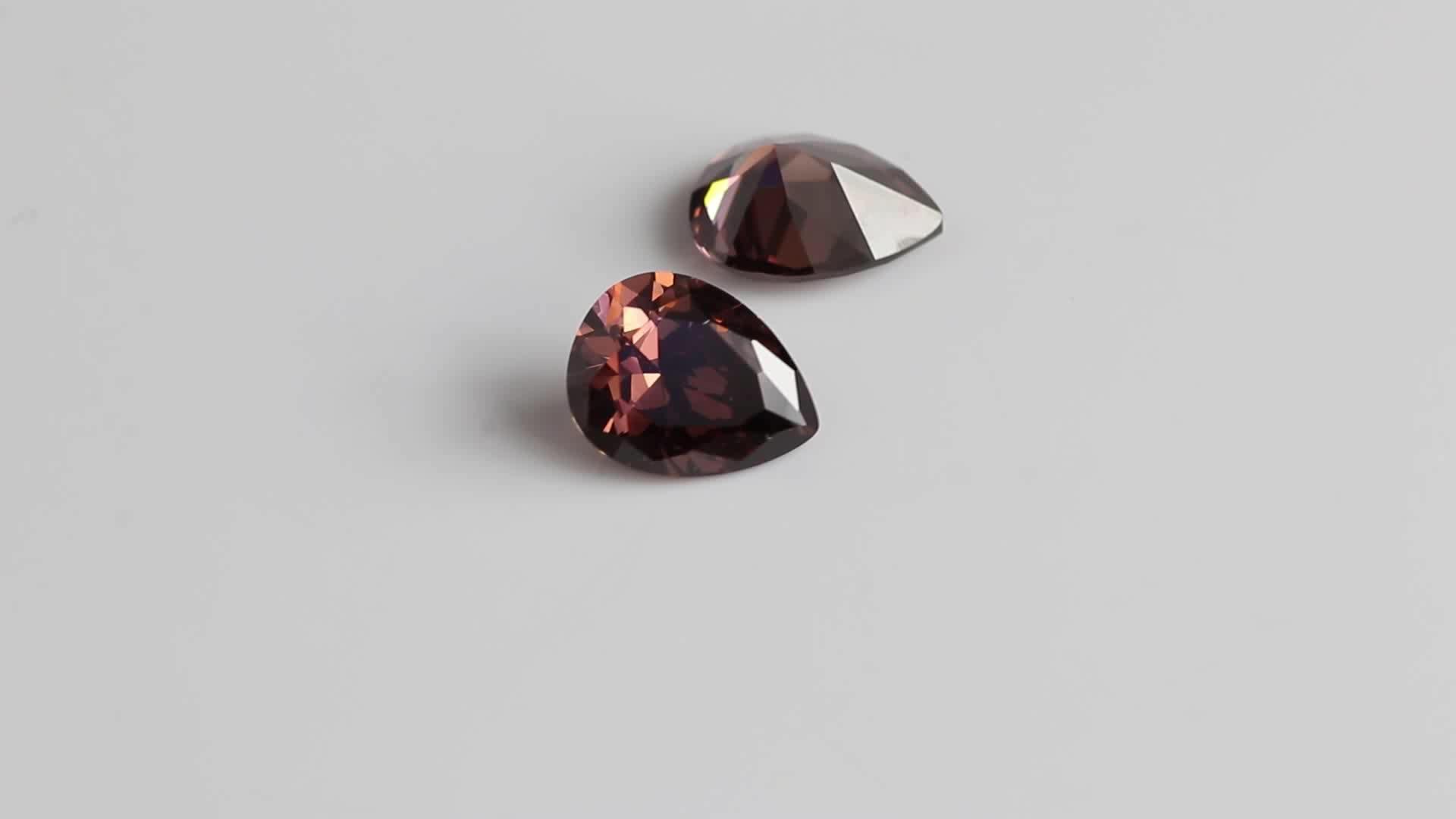 Good quality cushion cut lab created champagne cubic zirconia cz gemstones