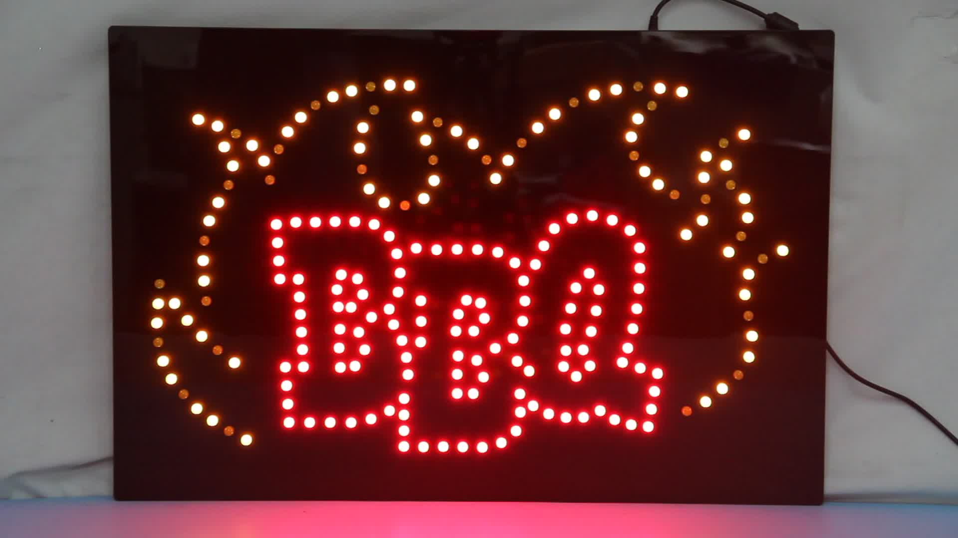 Hidly 16*24 Inch BBQ LED Open Sign, Animation Customized Indoor Advertising Acrylic LED Display Board
