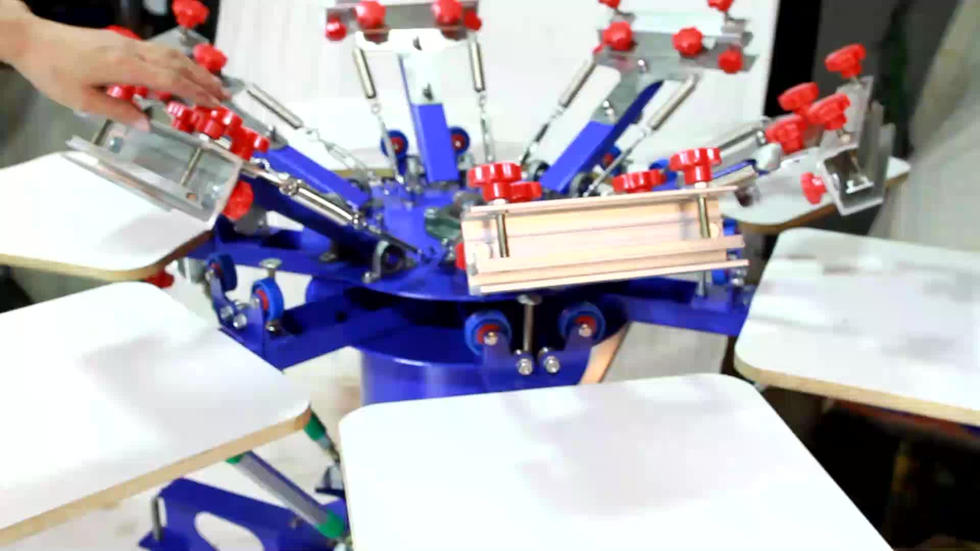 6 renk 6 istasyon manuel t-shirt çift tekerlek rotatif ekran BASKI MAKİNESİ
