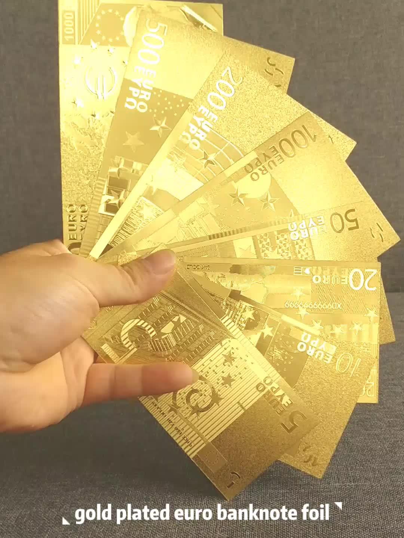ST-Ofício Elegante Estoque Presente de Natal Folha de Ouro Banhado A Moeda Euro 500 Euro Bankbote