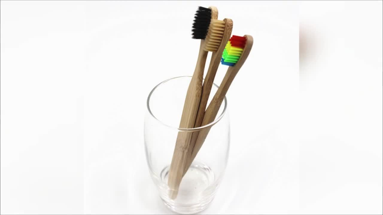 May Time Limited Getting 4pcs Free Samples Bamboo Toothbrush With 2pcs Paper Box Spazzolino Bamboo