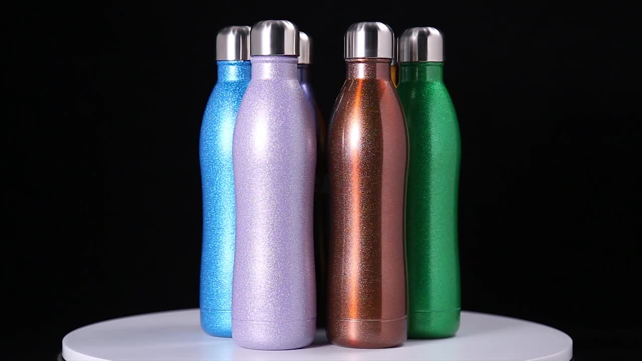 Curved Coke Shape Stainless Steel Vacuum Insulated Water Bottle with Twist Lid