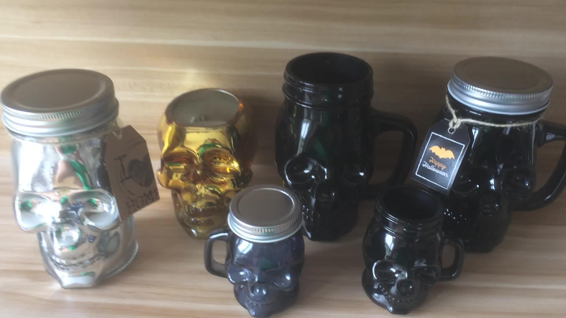 काले मेसन ग्लास जार प्राकृतिक सोया मोम सुगंधित हेलोवीन खोपड़ी मोमबत्ती