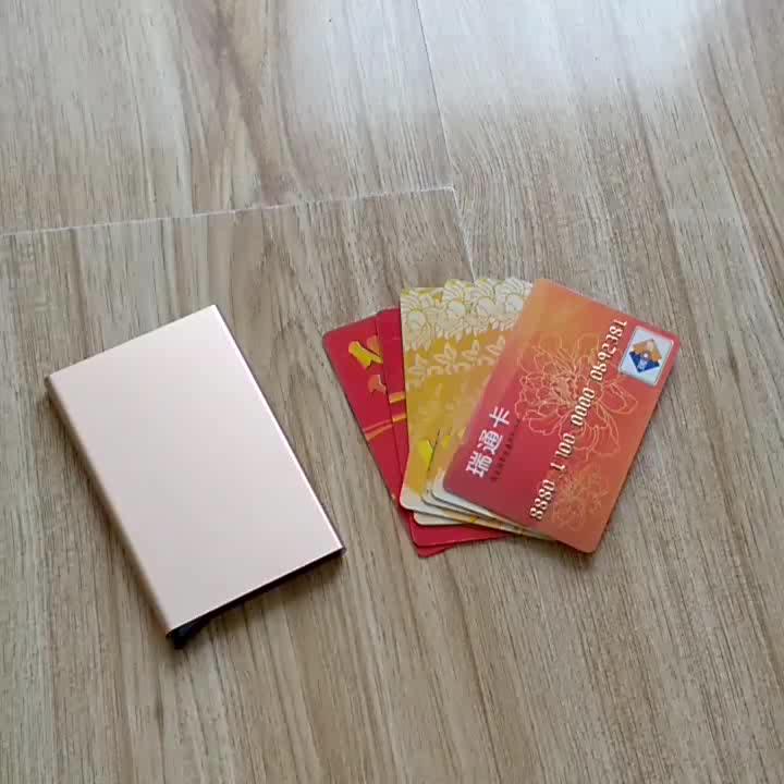 Custom shape custom metal plastic mens push button credit driving license RFID blocking card holder with elastic bands