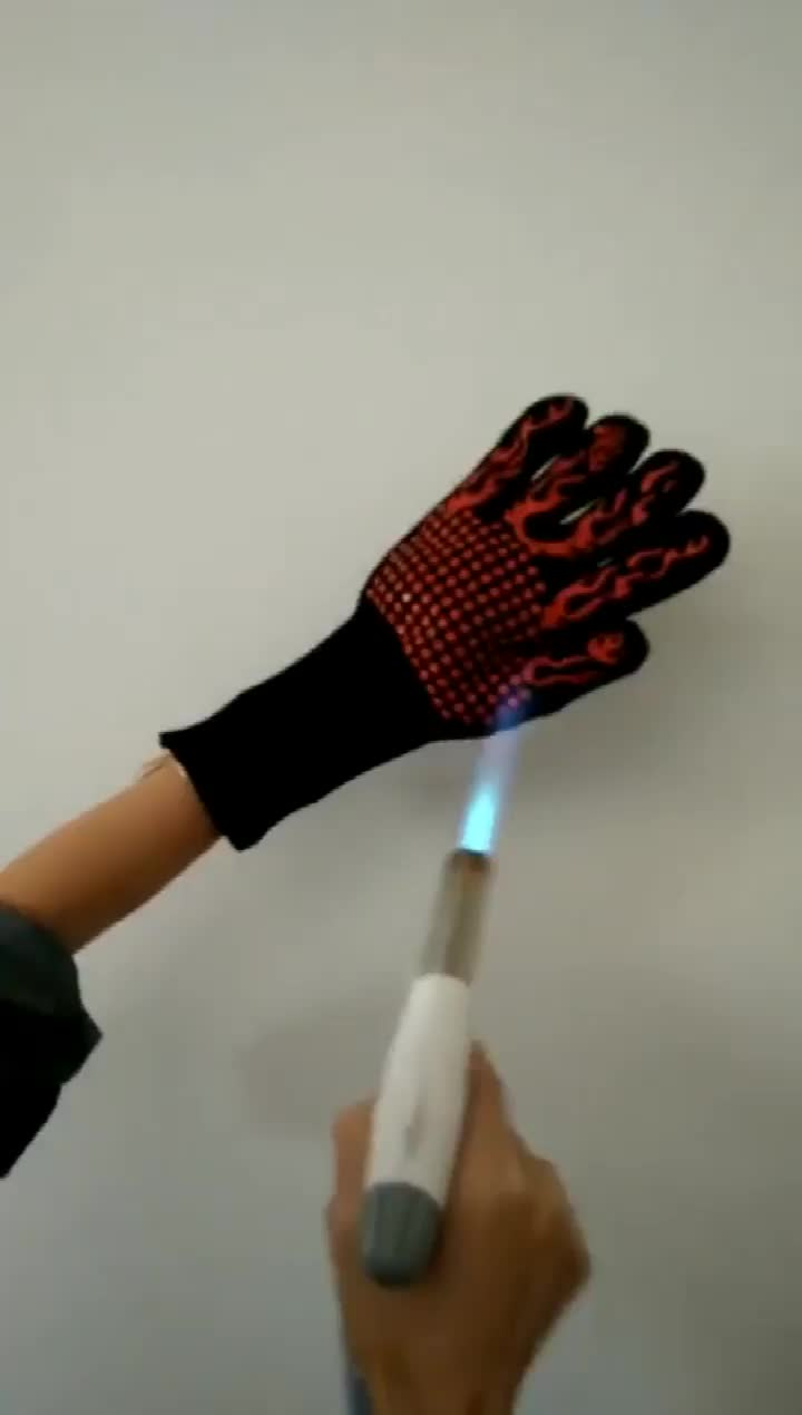 Blue Flame Heat Resistant Oven Grilling Welding Gloves