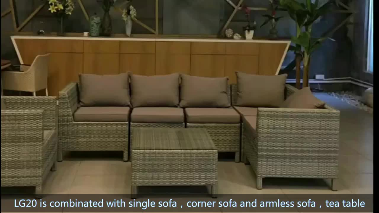 Wholesale modern design cast aluminum plastic rattan outdoor sectional living room couch sofa set