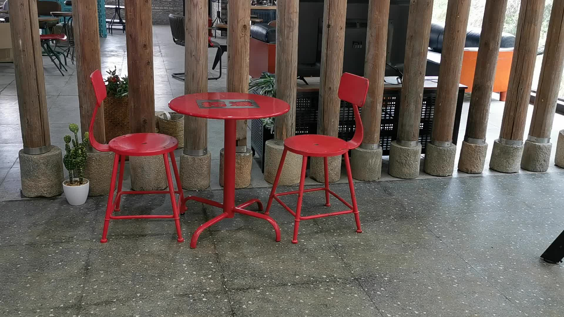 Antique industrial round coffee table and chair