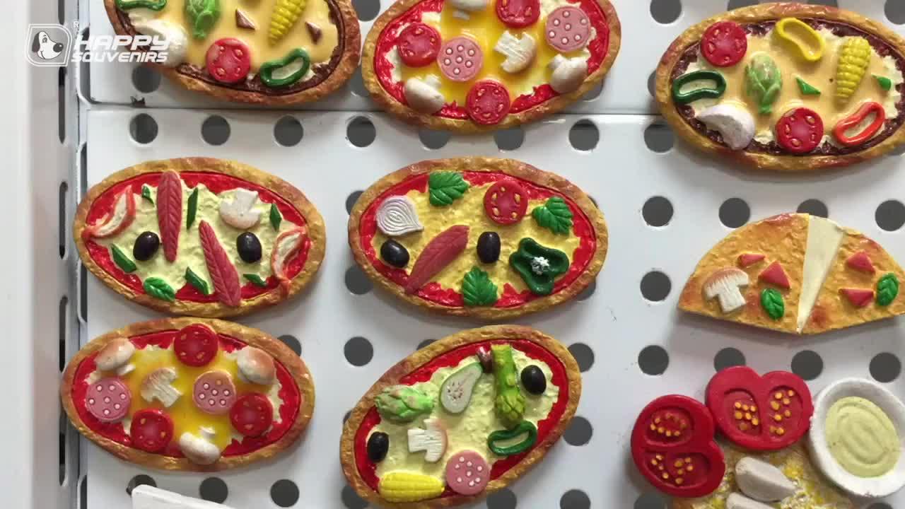Hot Sale 3D Handmade Seafood Pizza Fridge Magnets Kitchen Home Decoration Refrigerator Magnets Wholesale
