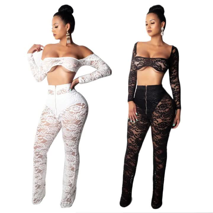 New Design Sexy Lace Outfit Night Club Two Piece Transparent Fashion Clothing For Women