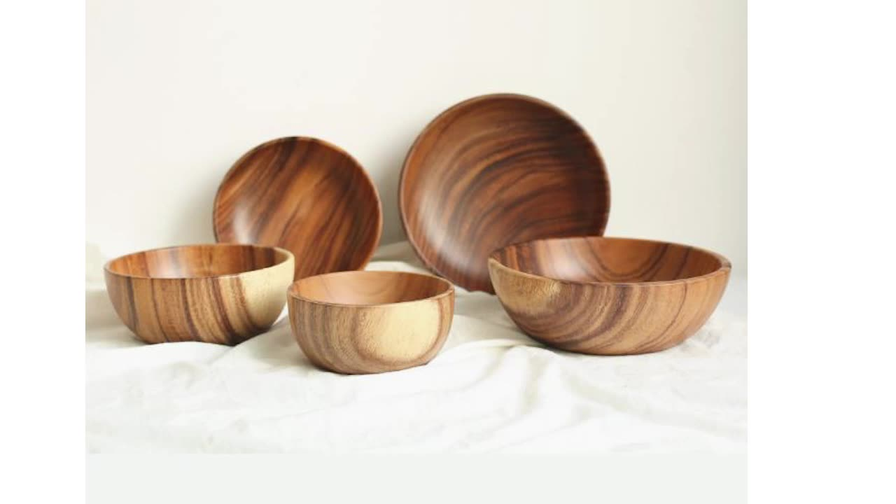 Unique Design Food Grade Healthy Soup Rice Serving Solid Unbreakable 6.5 Inch Custom Logo Acacia Wood Bowl