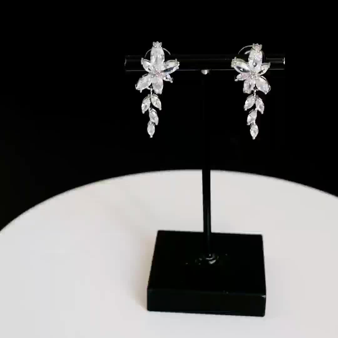 뜨거운 제품 동향 라인 스톤 잎 귀걸이 신부 패션 귀걸이 실버 보석