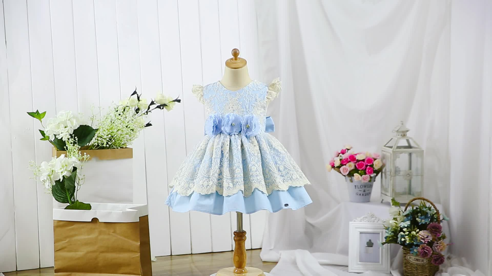 Pettigirl Sky Blue Flower Girl Dresses Girls kids Party Dresses Age 2 To 8 Y Lace Dresses With Headpiece