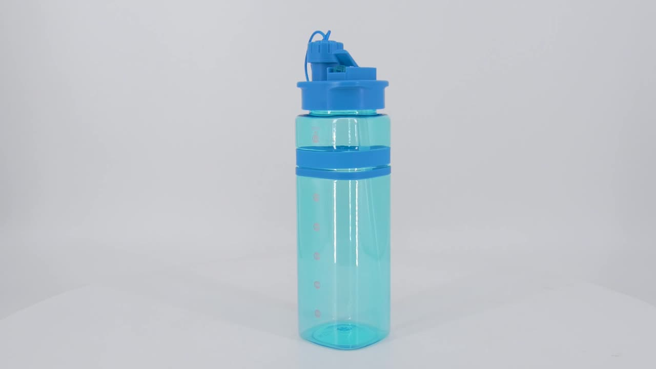 600ml 700ml bpa free plastic sports water bottle with long straw