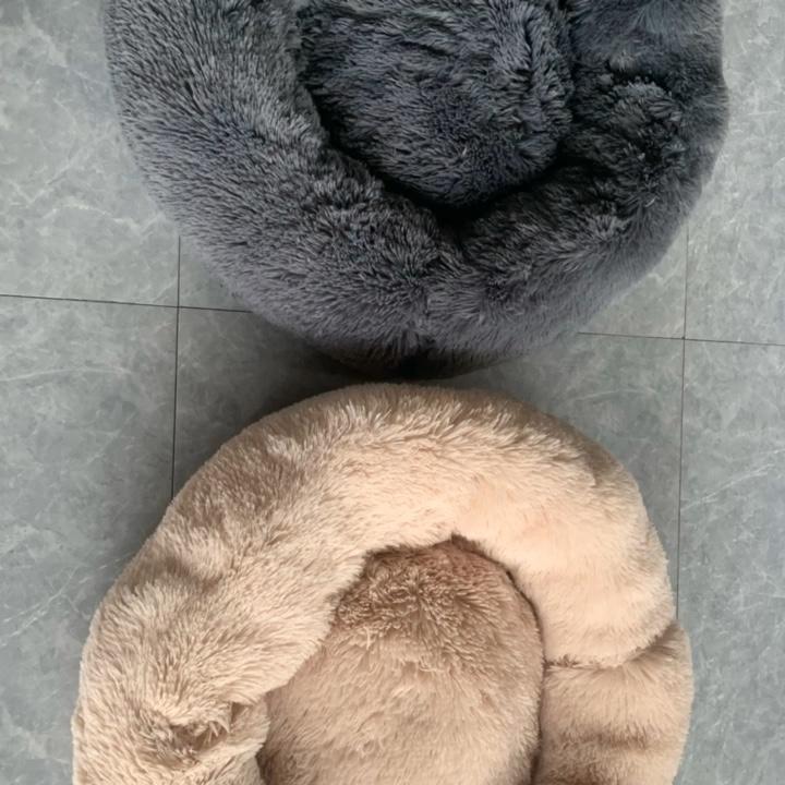 Faux Fur Pet Comfortable Washable Super Soft Donut Warm Round Customized Plush Dog Bed