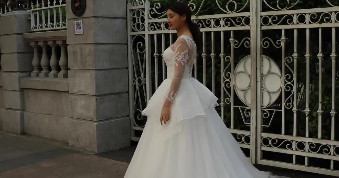 Long Sleeve Lace Ball Gown Wedding Dress: Rsm66533 Elegant Lace Organza Beaded Trim Wedding Gowns
