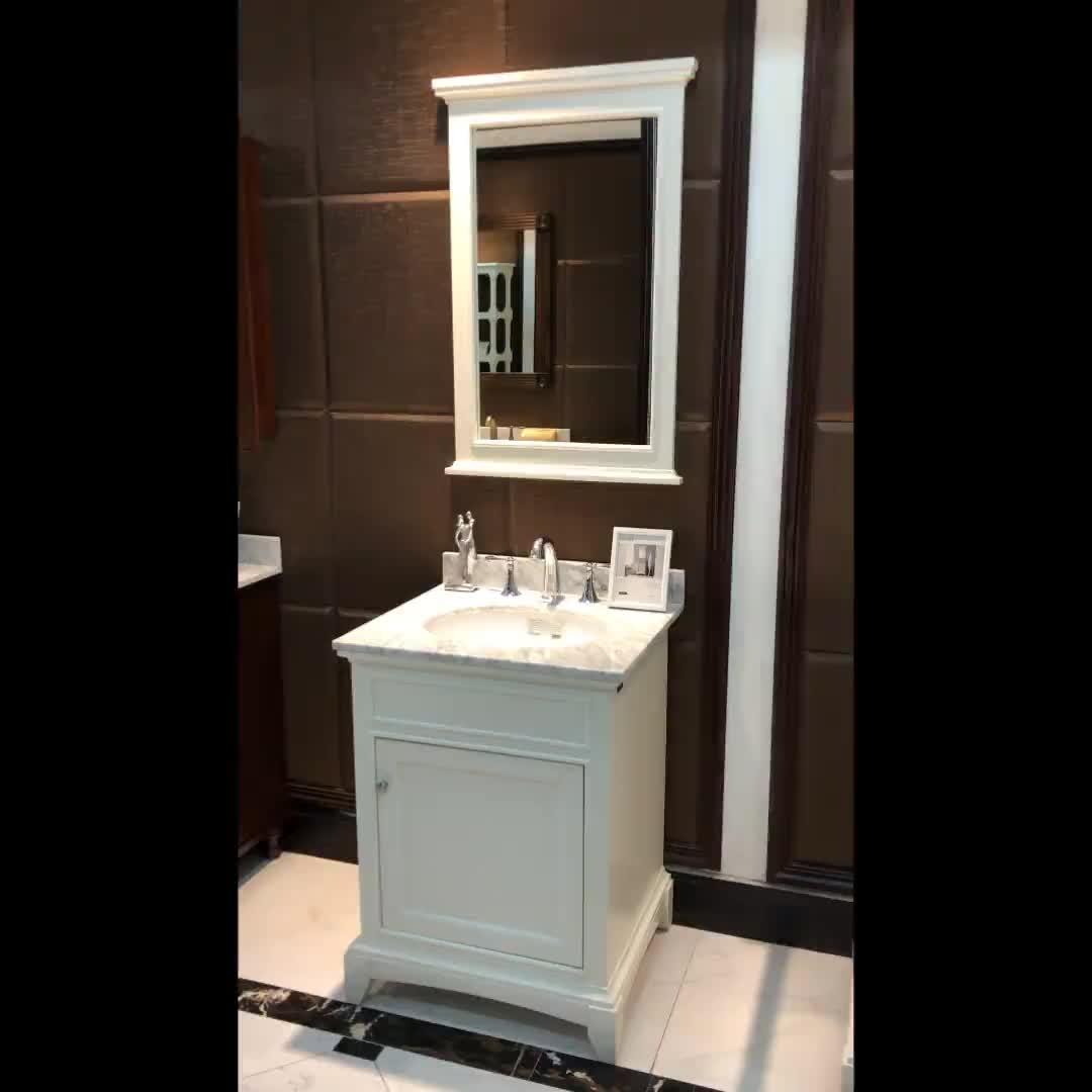 فاما 24 بوصة صغيرة خزانة حمام الطابق موقف واحد العتيقة الأبيض الغرور 709024