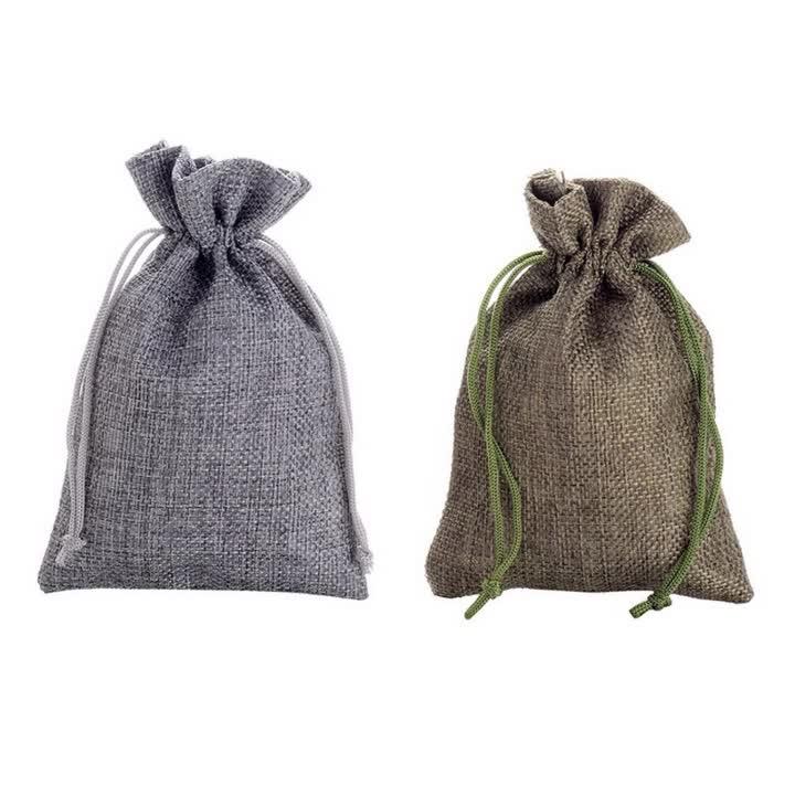 multicolor Burlap Gift Bag with Satin Drawstring 10*15cm