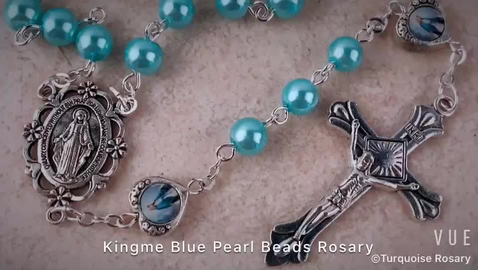 6mm Light Blue Pearl beads with Miraculous Medal Catholic Rosary for Free