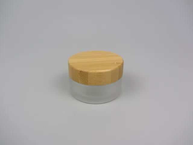 Most Popular Round Eco- Friendly 50g Bamboo Cosmetic Cream Jar With Frosted Glass Body