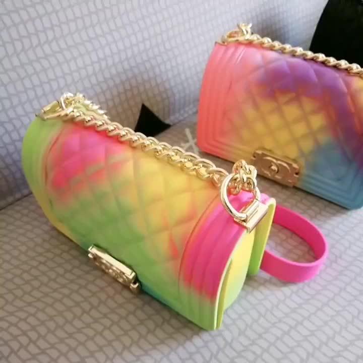 2019 New fashion PVC ladies bag high capacity rainbow color diamond lattice women fashion jelly bag