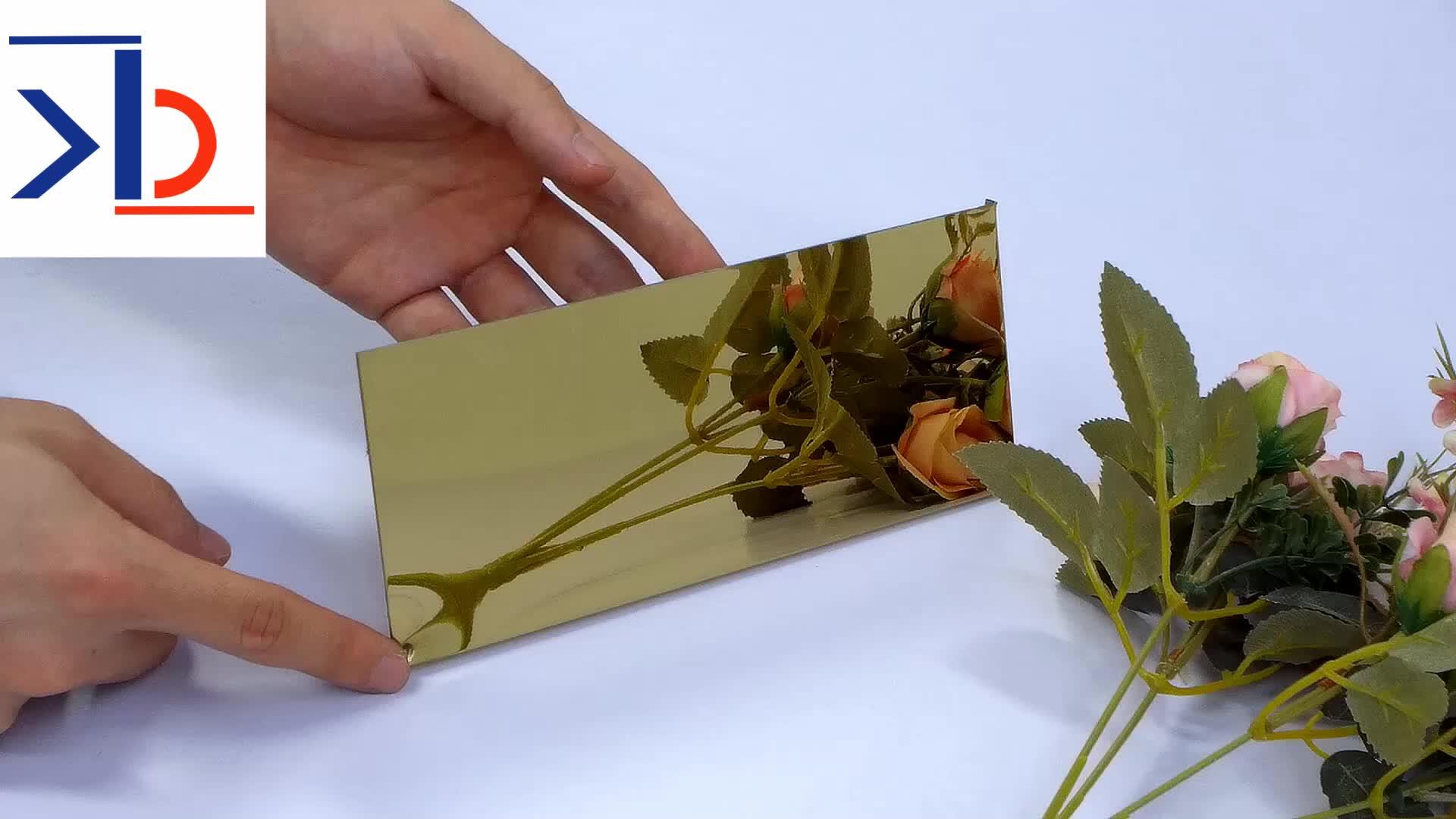 4x8 3mm 316l กระจกสแตนเลสแผ่น backsplash แผ่น 316 golden กระจกสีตกแต่งสแตนเลสแผ่น