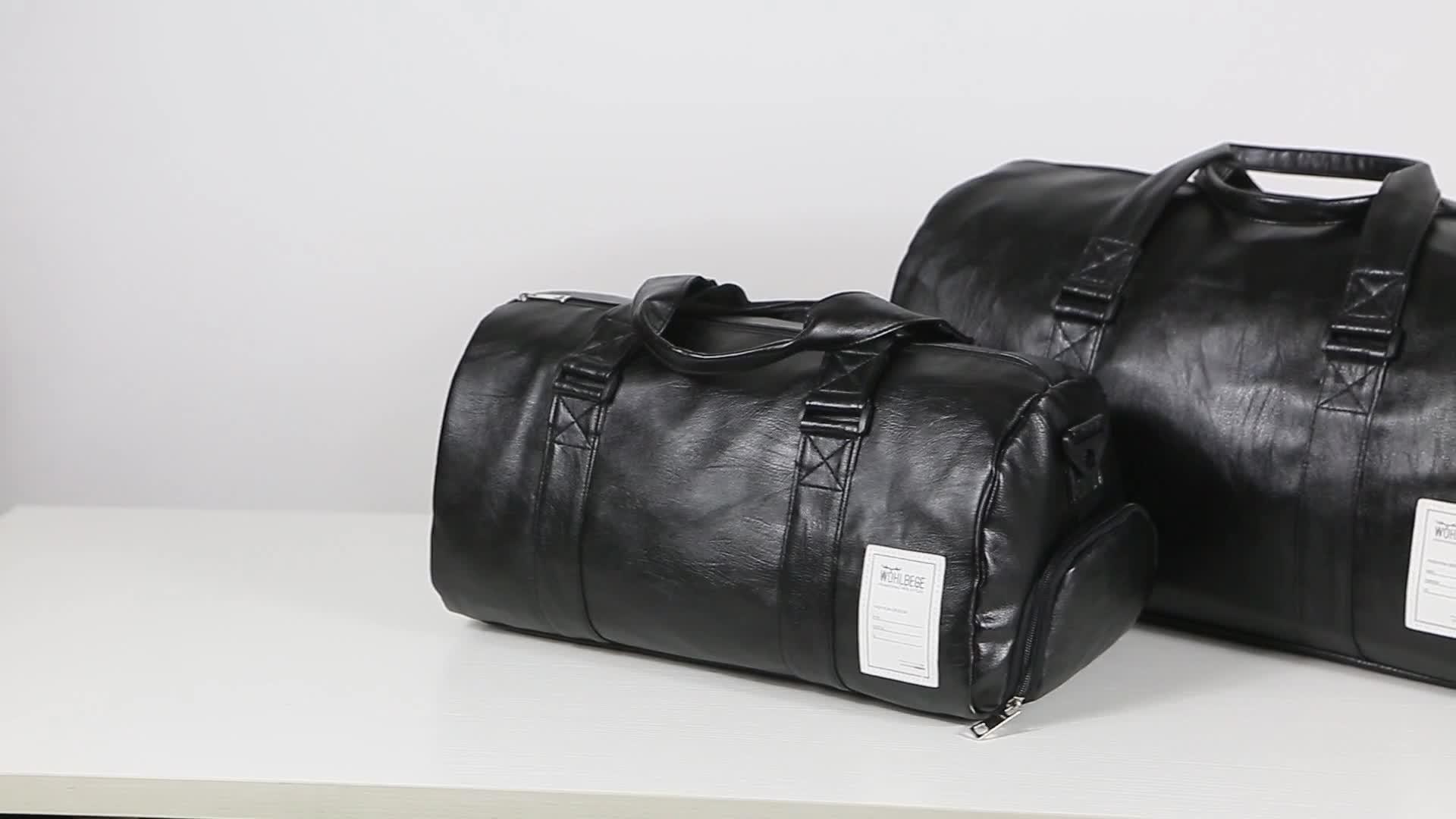 WOHLBEGE للماء حقيبة كتفية للسفر رجالي الجلود حقيبة رياضية مع الحذاء المقصورة