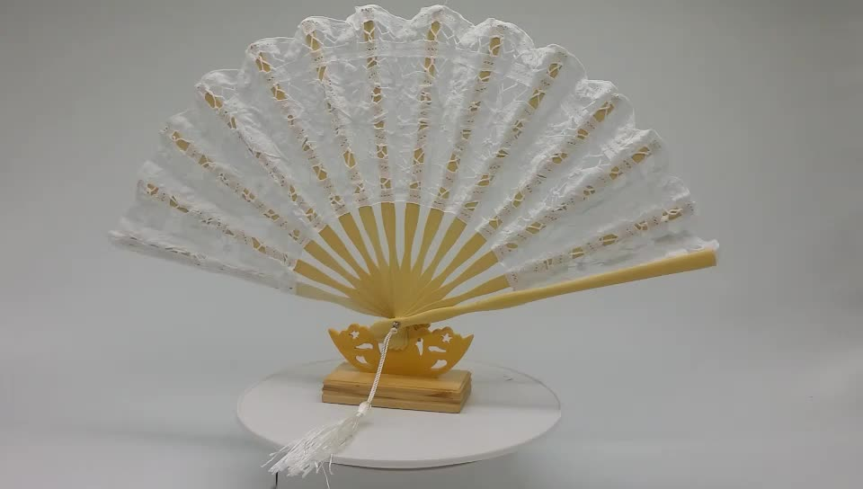 White black and beige nice quality European favor bamboo wedding fan