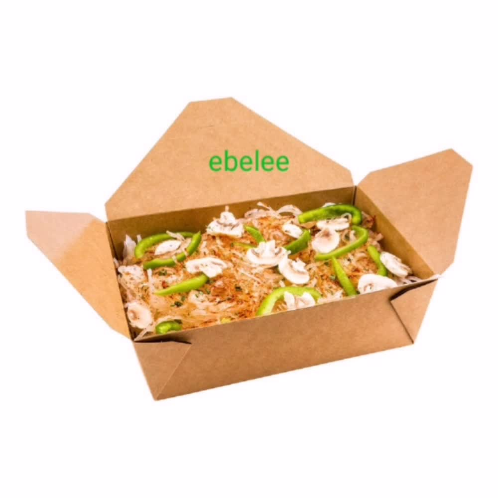 Customized disposable foldable kraft paper box fast food lunch packaging box