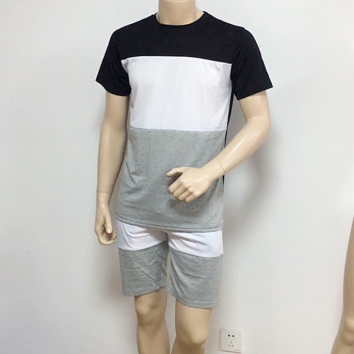 Summer Youth Casual Fashion Patchwork Tracksuits contrast panel t shirt and shorts twin sets