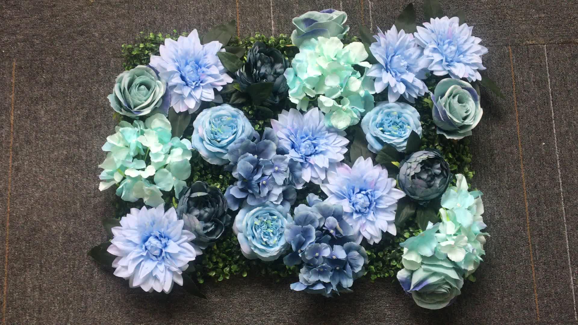Plastik bitkiler ipek çiçek dekorasyonu ofis için yapay yeşil duvar paneli düğün çiçek duvar dekor çiçek