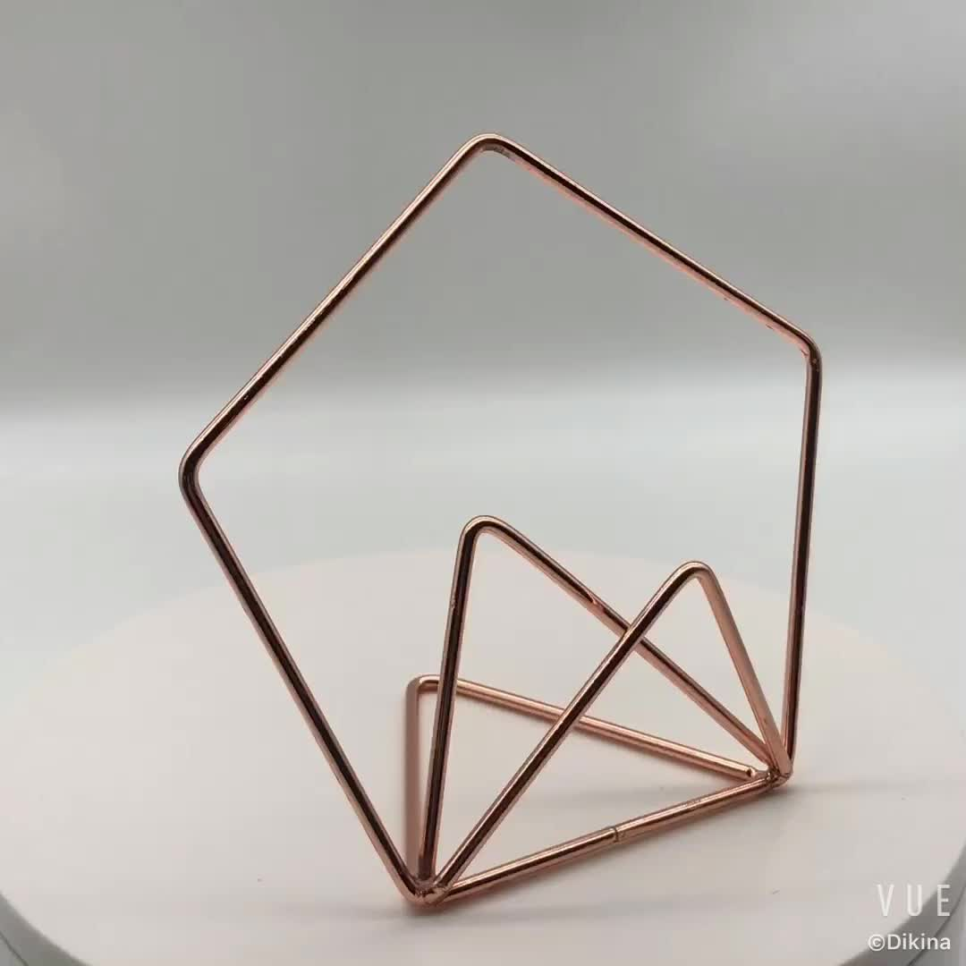 Geometric shape gold rose gold silver 6 colors Decorative wire cake topper Asymmetric Guest number name wedding card holder