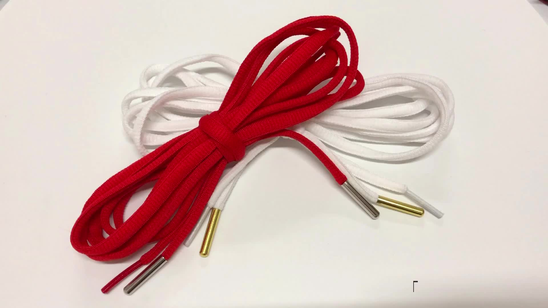 120cm Hot-Sale Red Round Shoelaces With Custom Metal Tips Shoe Lace Aglets