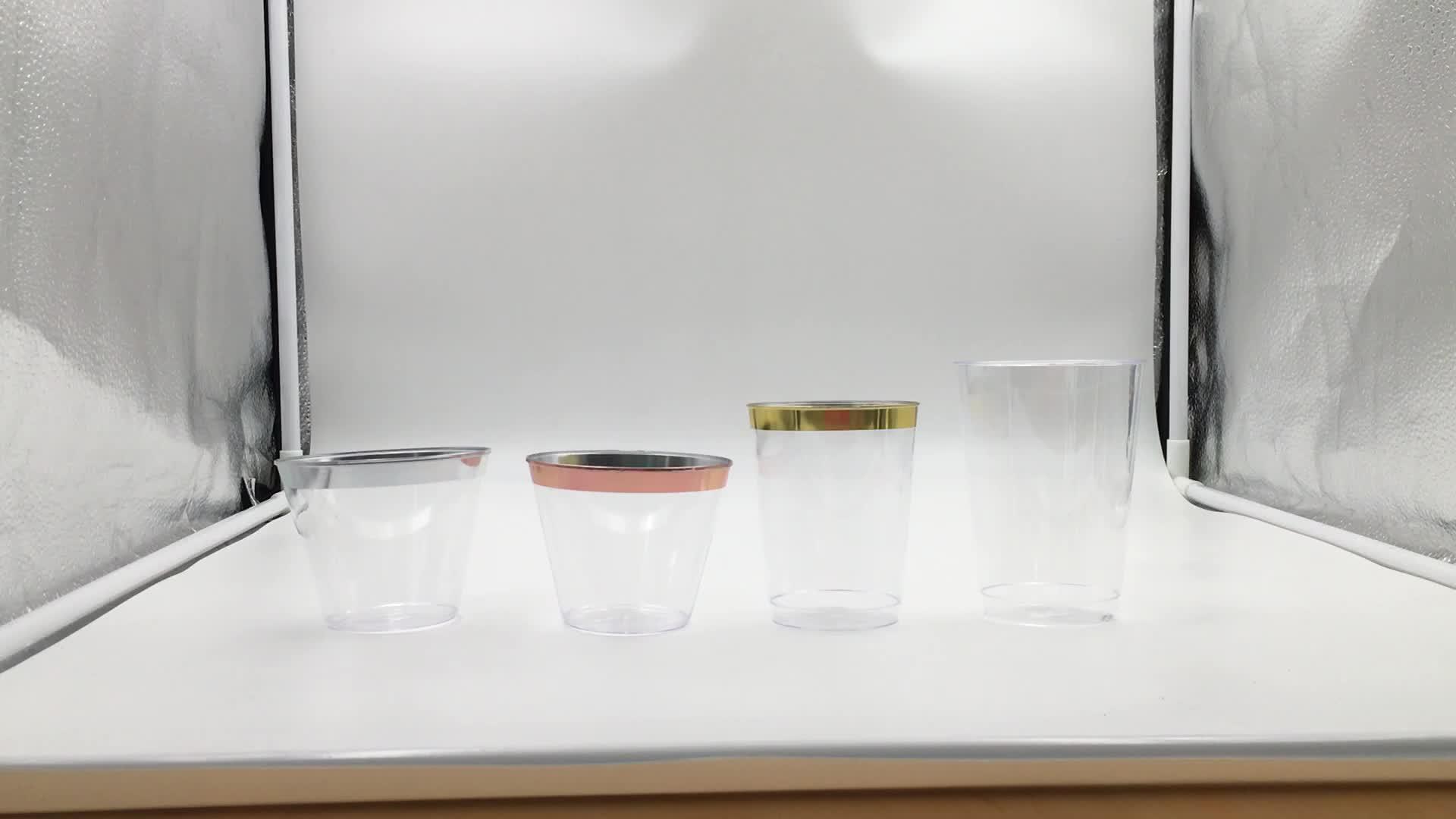 9 OZ 파티 일회용 골드 림 플라스틱 컵