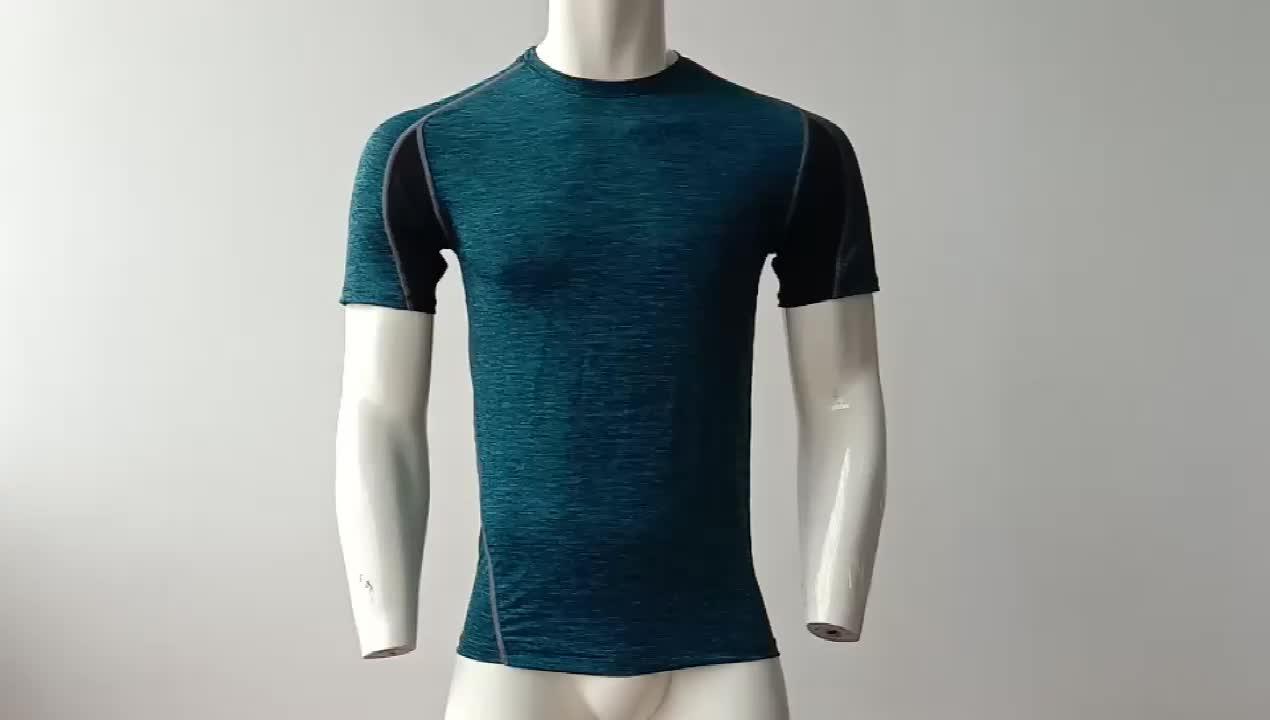 Breve Manicotto Dei Vestiti di Allenamento L'assorbimento di Umidità Pianura Gym T Shirt Per Gli Uomini
