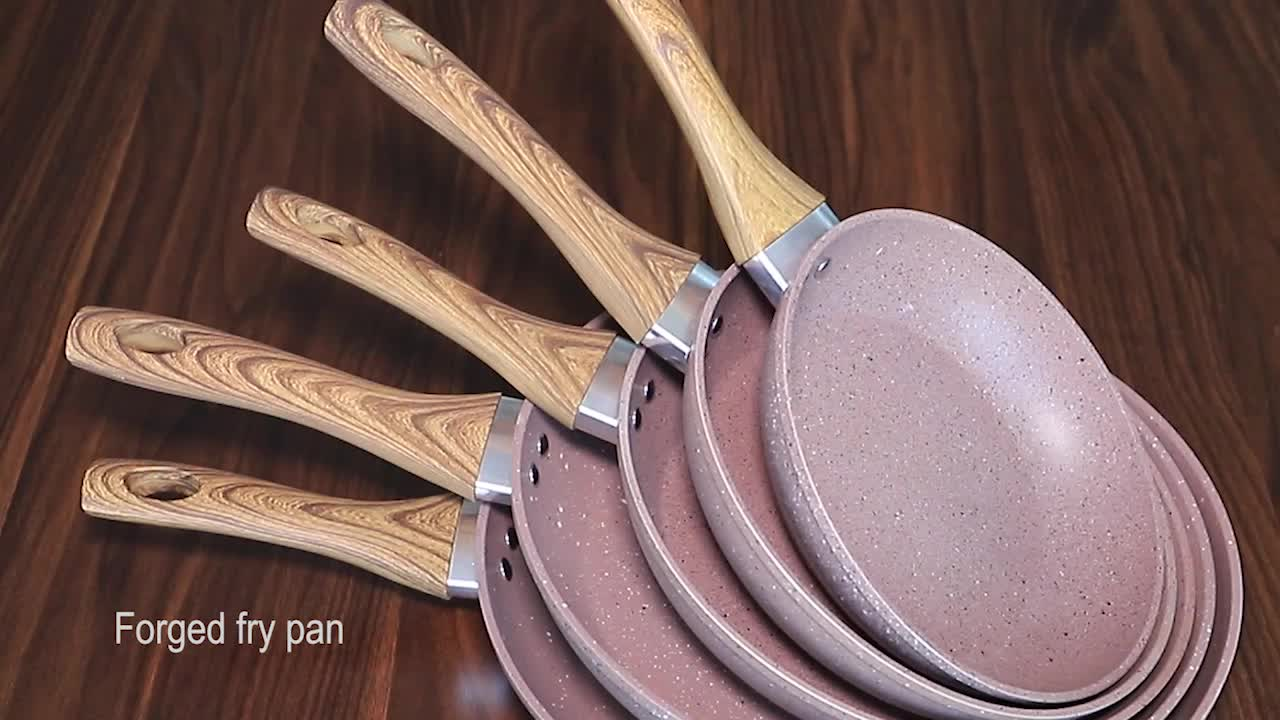 Hot sale high quality aluminum forged fry pan cooking pot marble coating non stick frying pan
