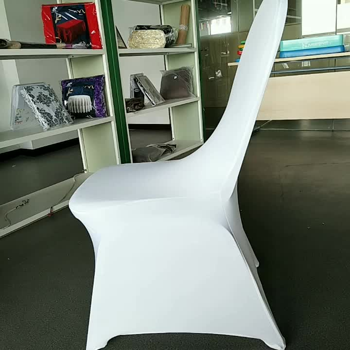 Universal cheap strong stretch arch front custom banquet white spandex slipcovers chair covers wedding decoration