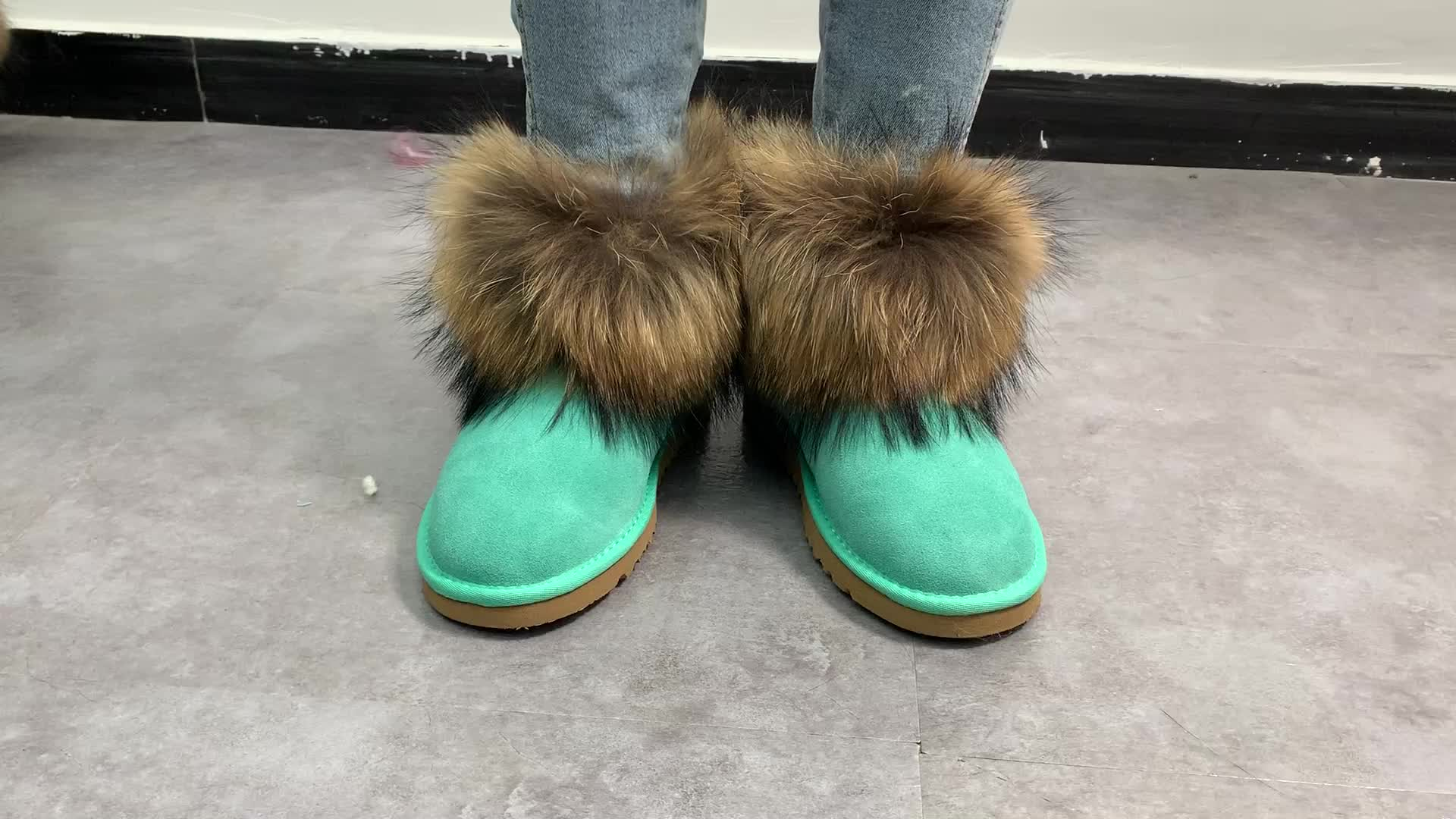 MOQ 1pair wholesale new style warm ladies winter snow fur boots real fox faux fur boots
