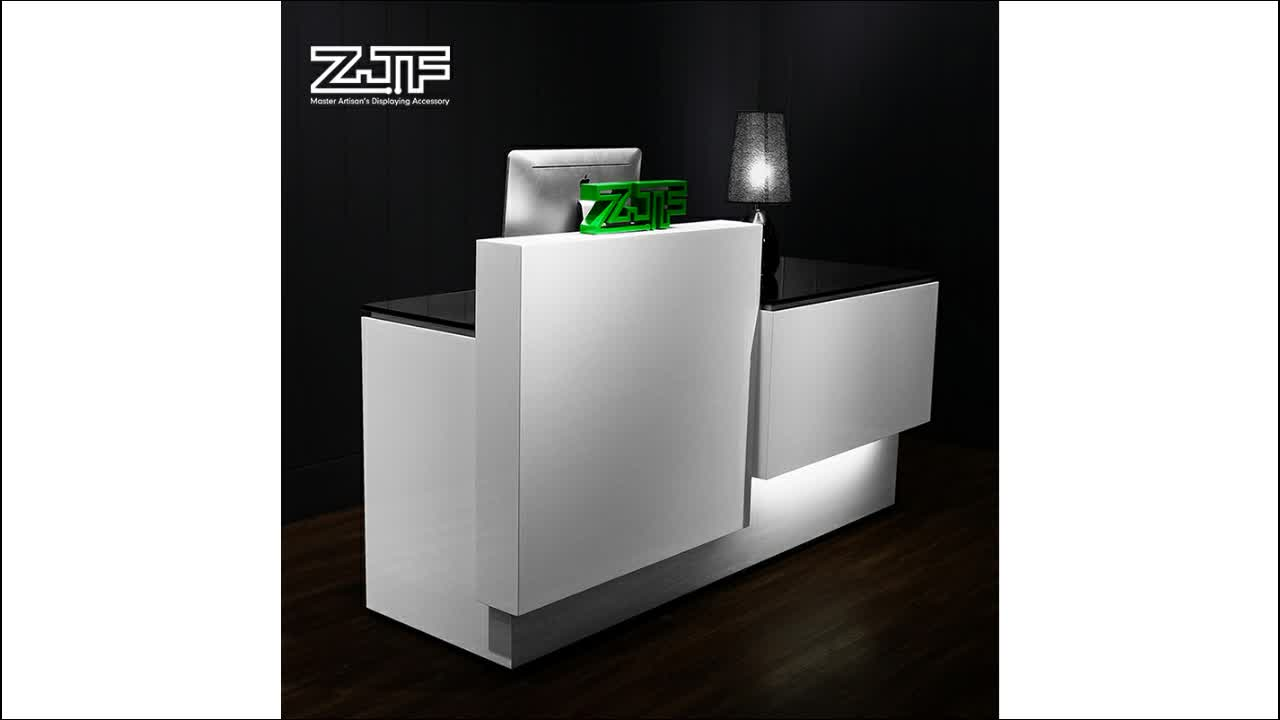 Fashion coffee bar wooden counter reception stand front table lighted supermarket led reception desk