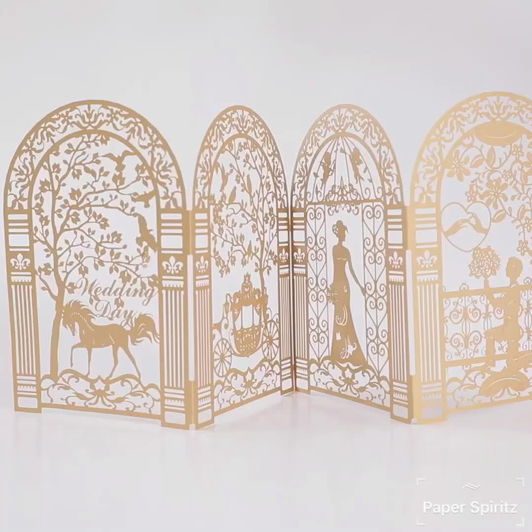 독특한 디자인 레이저 컷 순수한 황금 결혼식 초대 카드