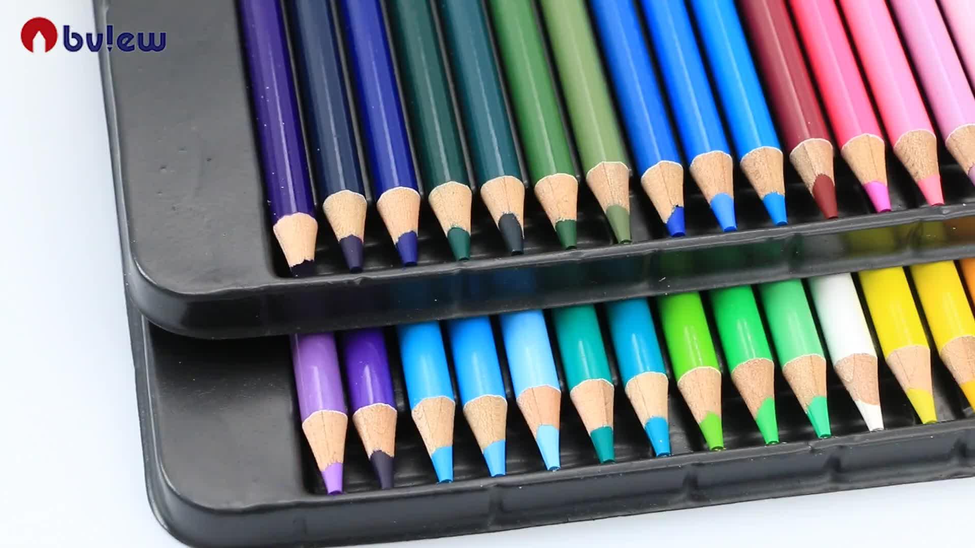 Pribadi Pensil Warna Set 48 Gambar Alami Kayu Warna Pensil dengan Kotak Timah