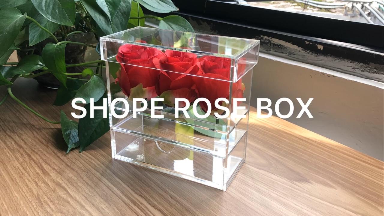 Özel 3 delik akrilik kutular için gül çiçek ambalaj
