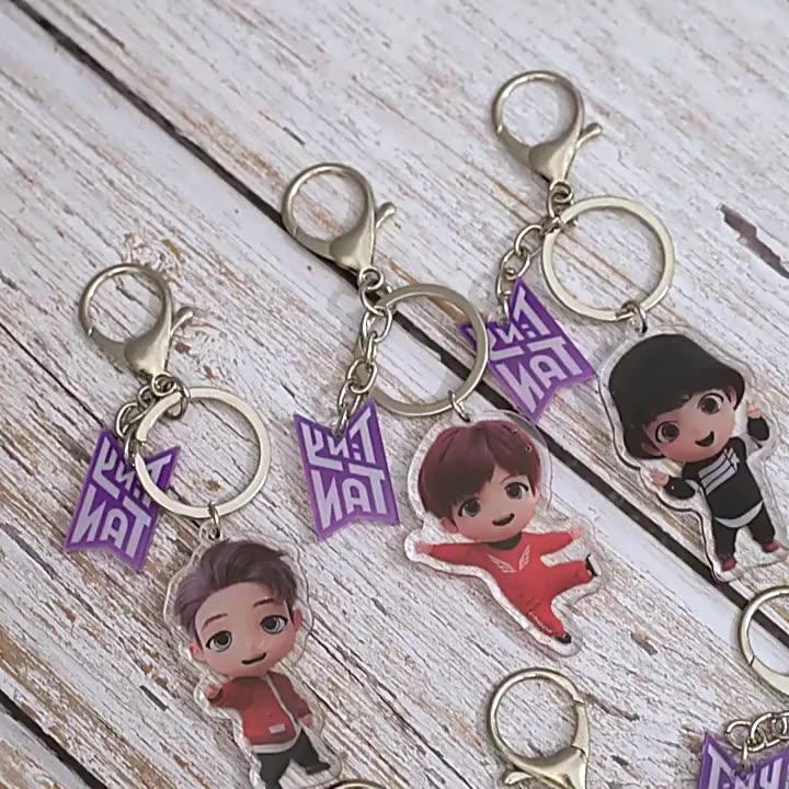 New arrival factory direct fashion style kpop idol group bts cartoon figure kpop bts tinytan acrylic key chain